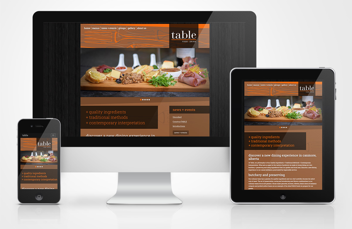Table Food + Drink website on different devices sizes